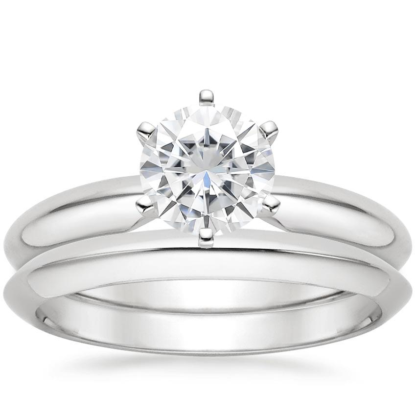 18KW Moissanite Six-Prong Classic Bridal Set, top view