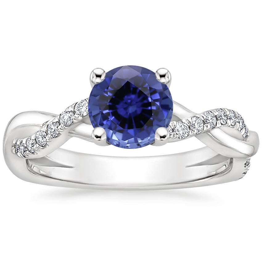 Sapphire Braided Vine Diamond Ring (1/4 ct. tw.) in 18K White Gold