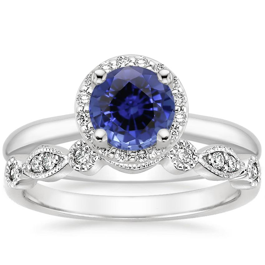 18KW Sapphire Halo Diamond Ring (1/6 ct. tw.) with Tiara Diamond Ring (1/10 ct. tw.), top view