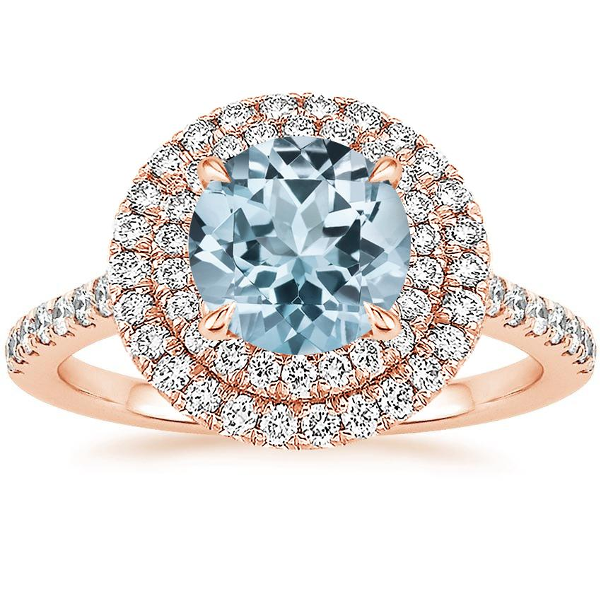 Rose Gold Aquamarine Soleil Diamond Ring (1/2 ct. tw.)