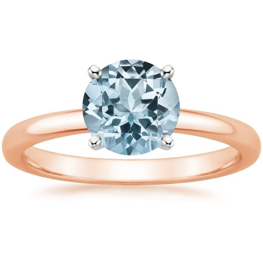Rose Gold Aquamarine 2mm Comfort Fit Ring