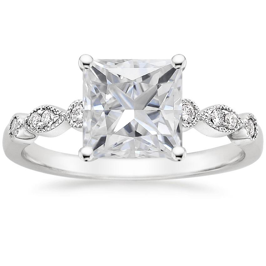 Moissanite Tiara Diamond Ring in 18K White Gold
