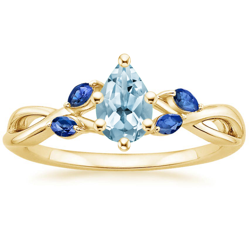 Yellow Gold Aquamarine Willow Ring With Sapphire Accents