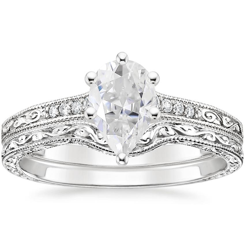 18KW Moissanite Contoured Luxe Hudson Diamond Bridal Set, top view