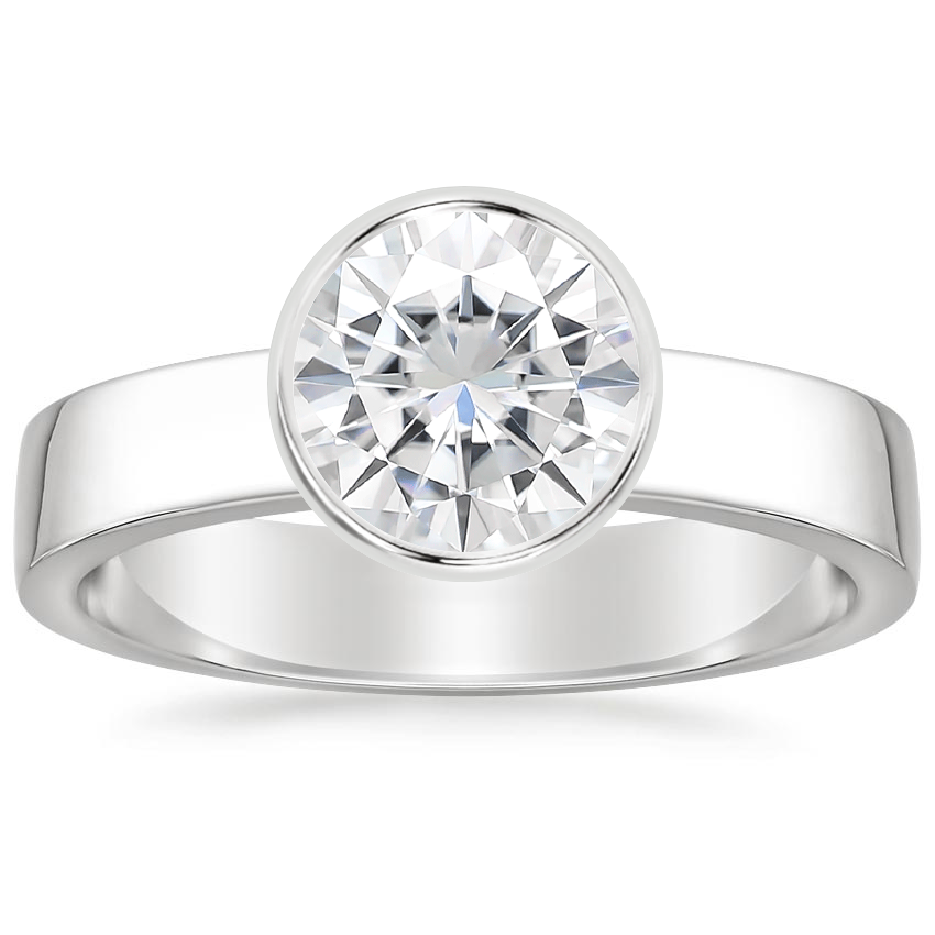Moissanite Vesper Ring in 18K White Gold