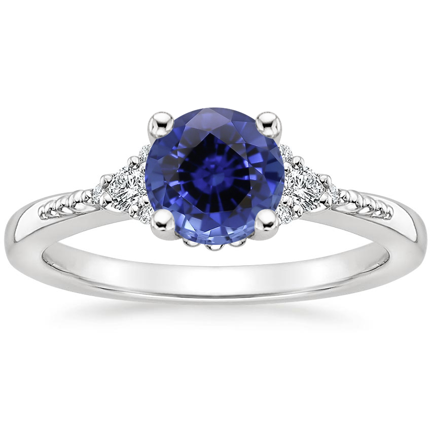 Sapphire Cuvee Diamond Ring in 18K White Gold