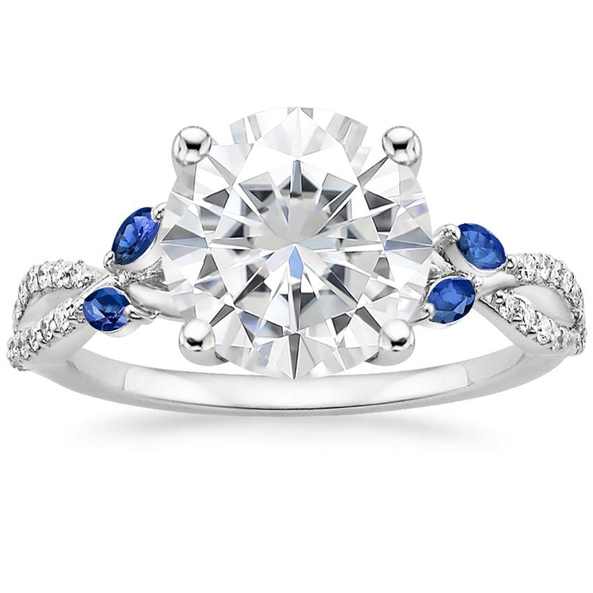 Moissanite Luxe Willow Sapphire and Diamond Ring (1/8 ct. tw.) in 18K White Gold