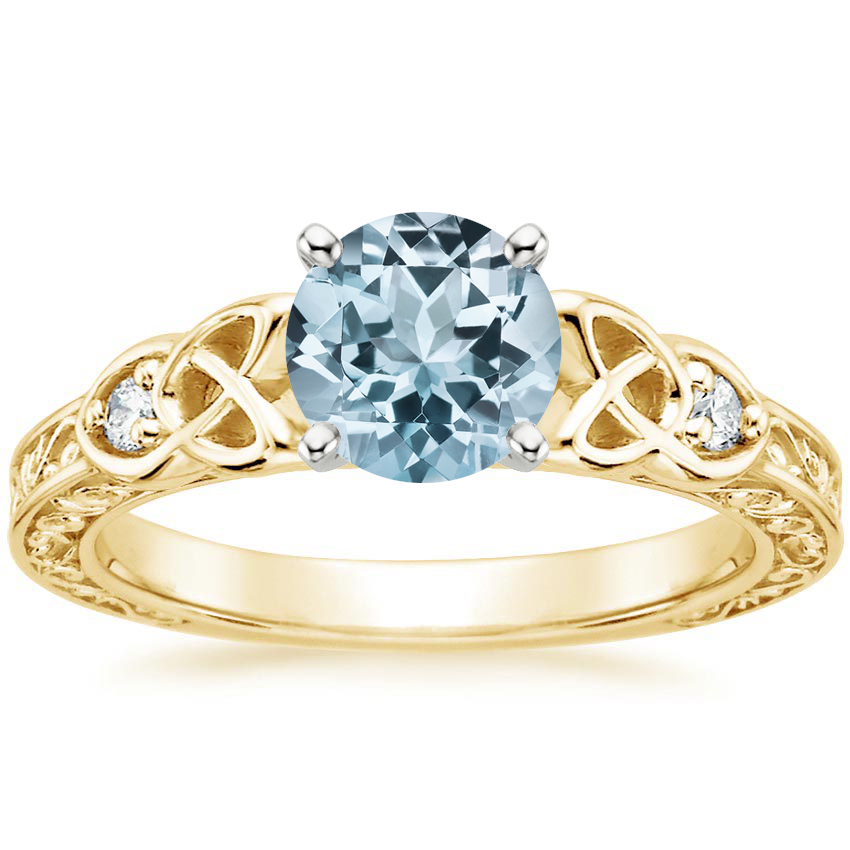 Yellow Gold Aquamarine Aberdeen Diamond Ring