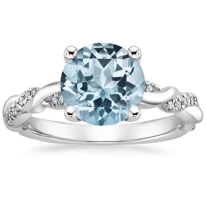 Aquamarine Tressa Diamond Ring in 18K White Gold