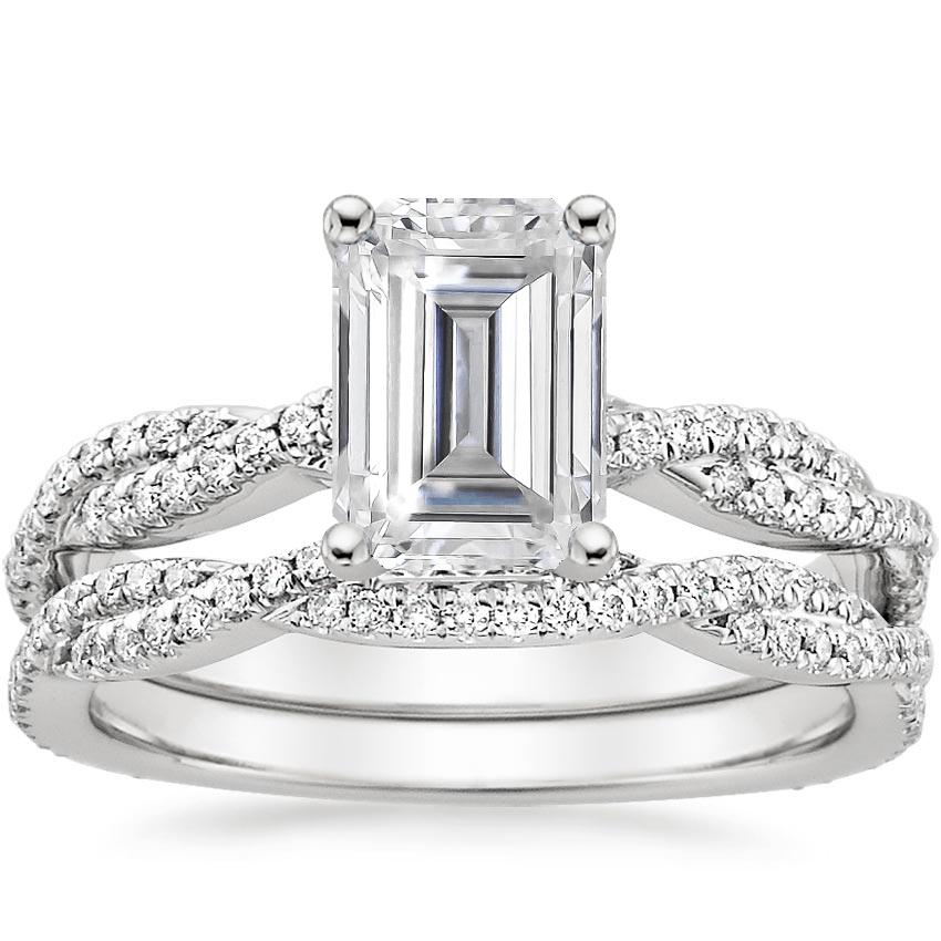 18KW Moissanite Petite Luxe Twisted Vine Bridal Set (1/2 ct. tw.), top view