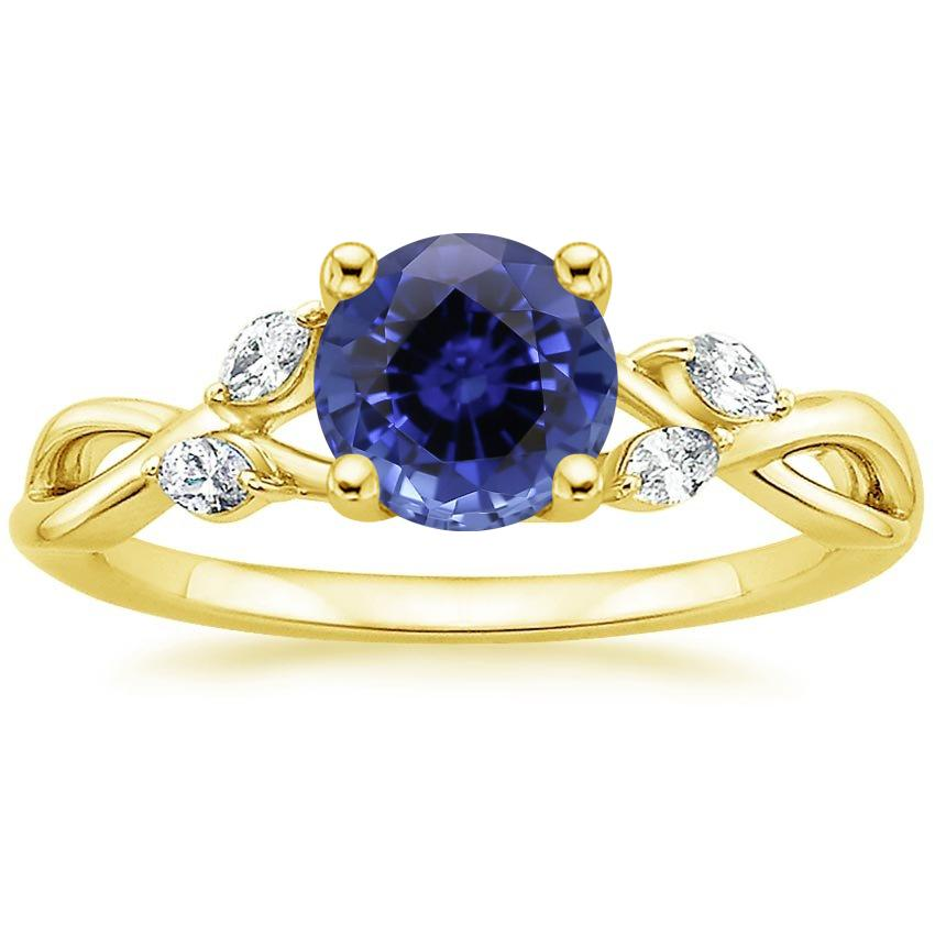 Yellow Gold Sapphire Willow Diamond Ring (1/8 ct. tw.)