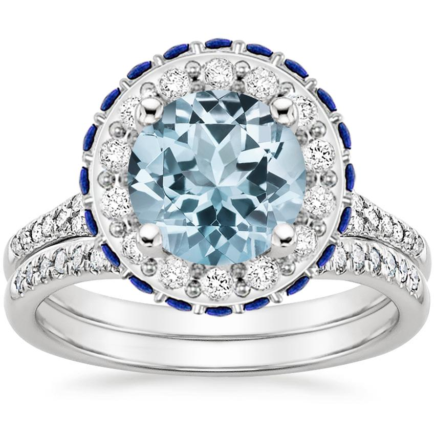 PT Aquamarine Circa Diamond Bridal Set with Sapphire Accents (1/3 ct. tw.), top view