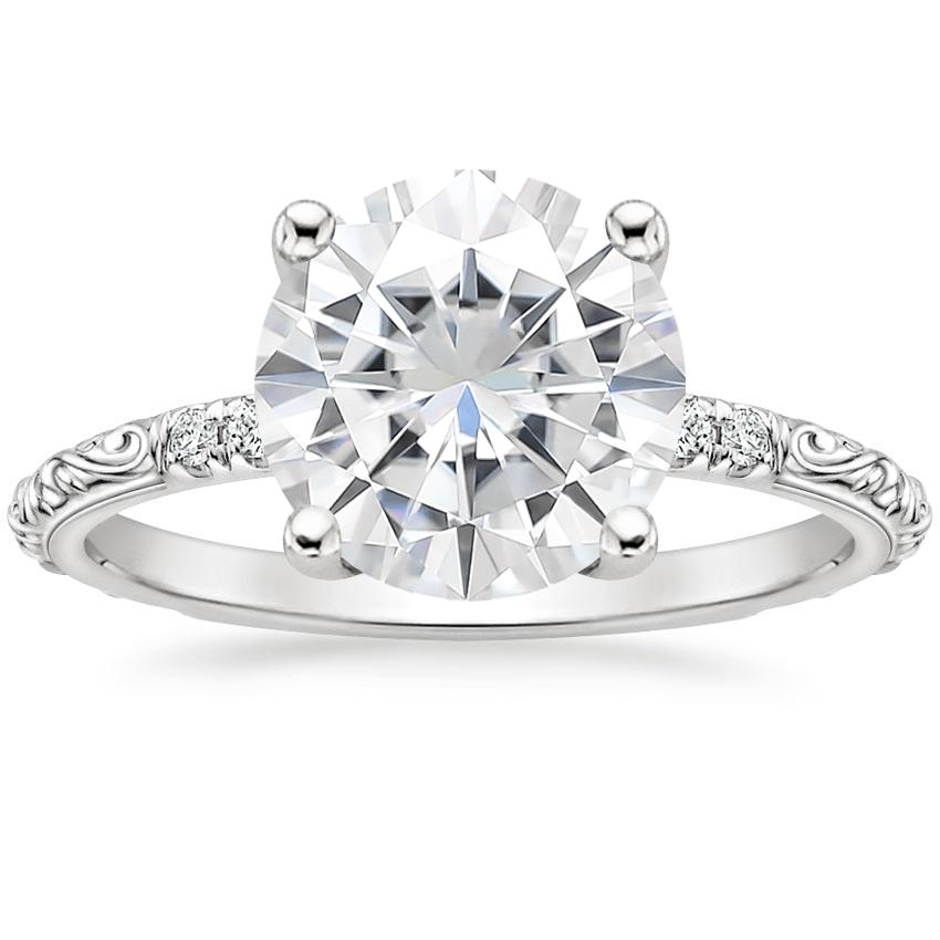 Moissanite Adeline Diamond Ring in 18K White Gold