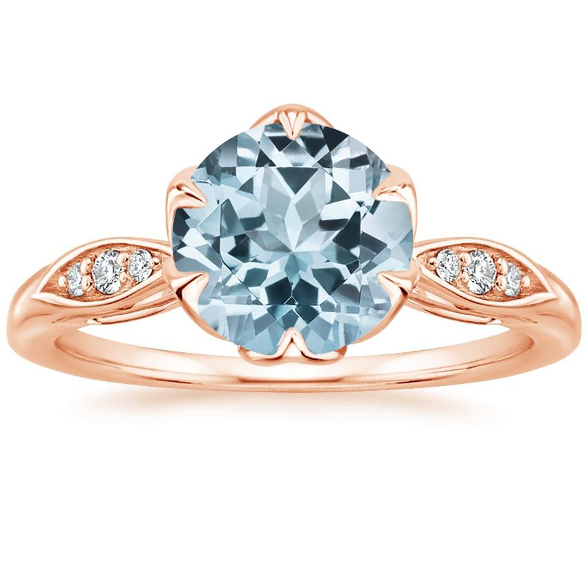 Rose Gold Aquamarine Peony Diamond Ring