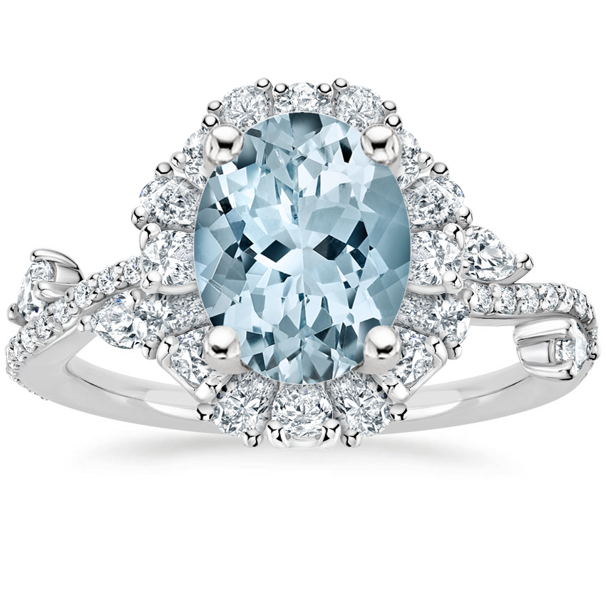 Aquamarine Blooming Rose Diamond Ring (1 ct. tw.) in 18K White Gold