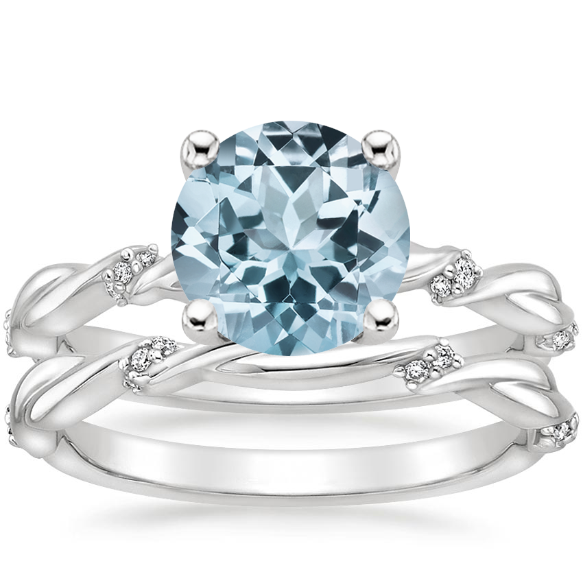 18KW Aquamarine Cleo Diamond Bridal Set, top view