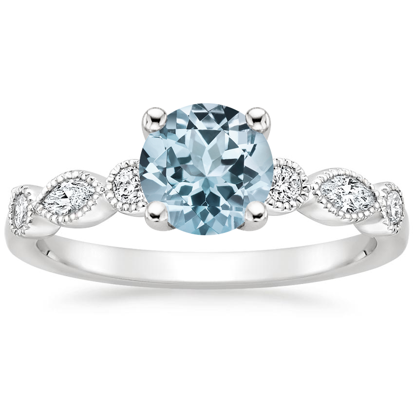 Aquamarine Rosalie Diamond Ring (1/4 ct. tw.) in 18K White Gold