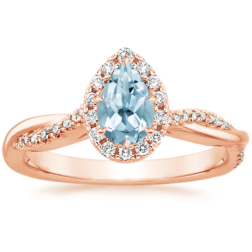 Rose Gold Aquamarine Petite Twisted Vine Halo Diamond Ring (1/4 ct. tw.)
