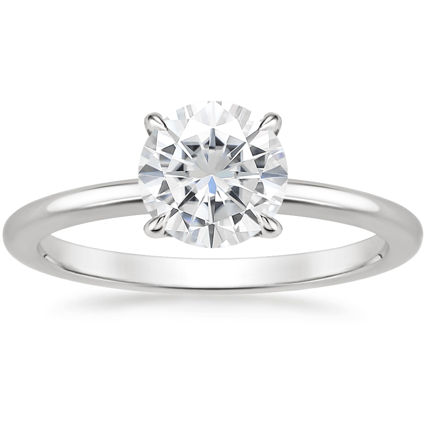 Moissanite Petite Elodie Ring in 18K White Gold