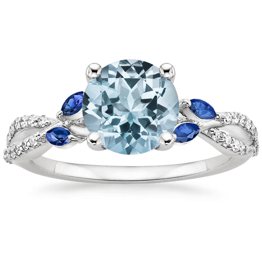 Aquamarine Luxe Willow Sapphire and Diamond Ring (1/8 ct. tw.) in 18K White Gold