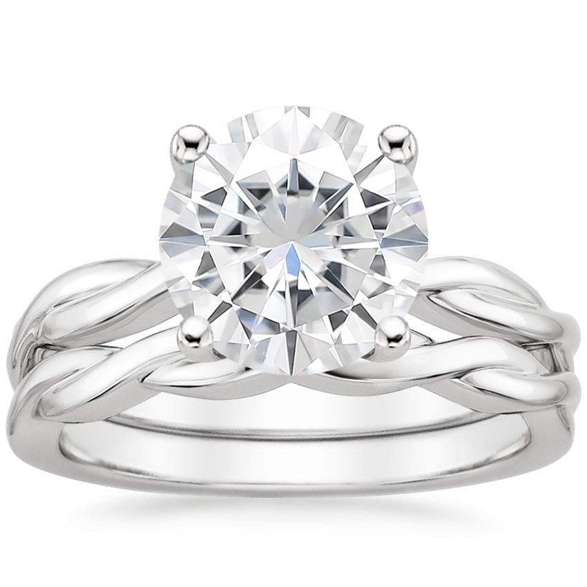 18KW Moissanite Twisted Vine Bridal Set, top view