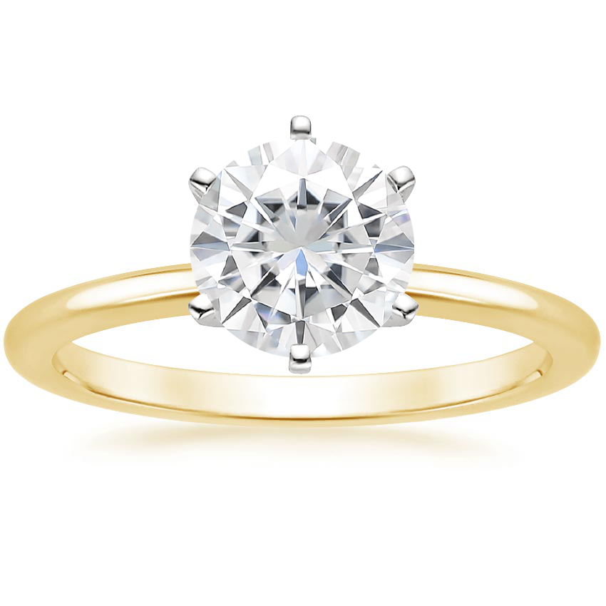 Yellow Gold Moissanite Six-Prong Petite Comfort Fit Ring