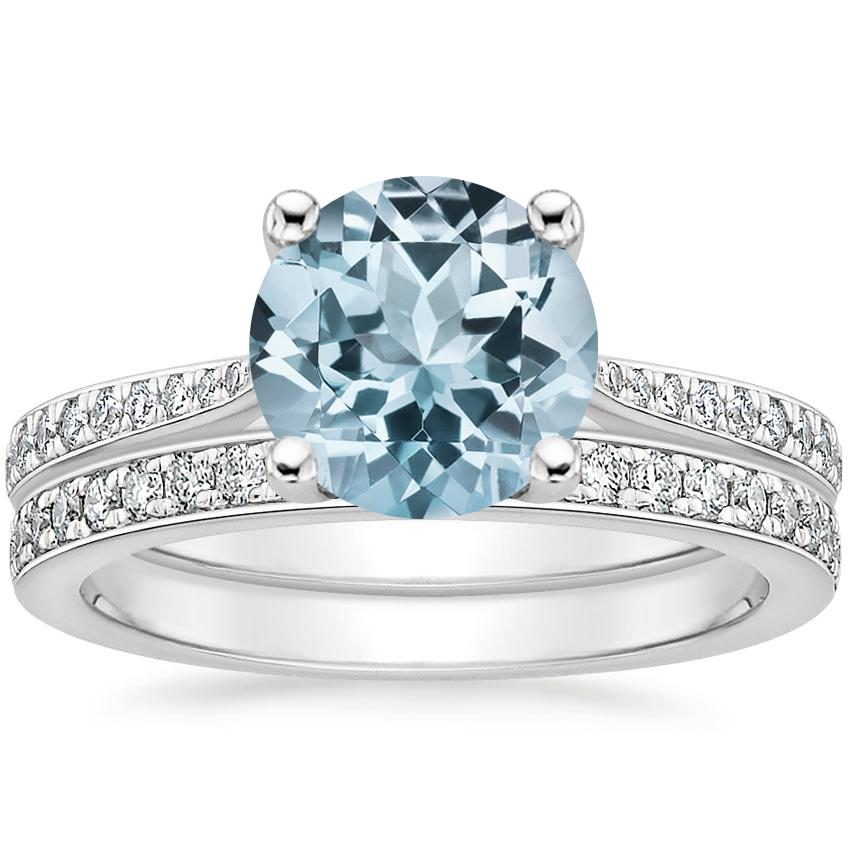 18KW Aquamarine Geneva Diamond Bridal Set (1/4 ct. tw.), top view
