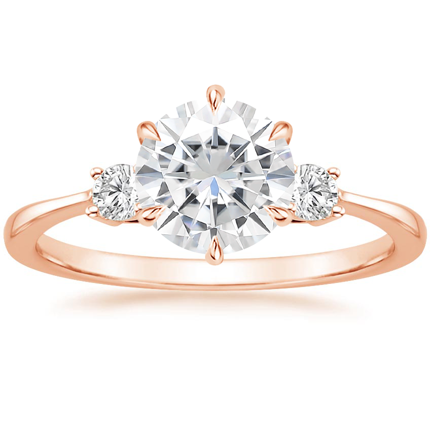 Rose Gold Moissanite Six Prong Selene Diamond Ring (1/10 ct. tw.)