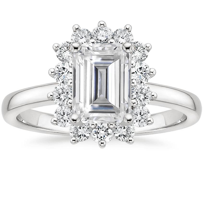 Moissanite Sunburst Diamond Ring (1/4 ct. tw.) in Platinum