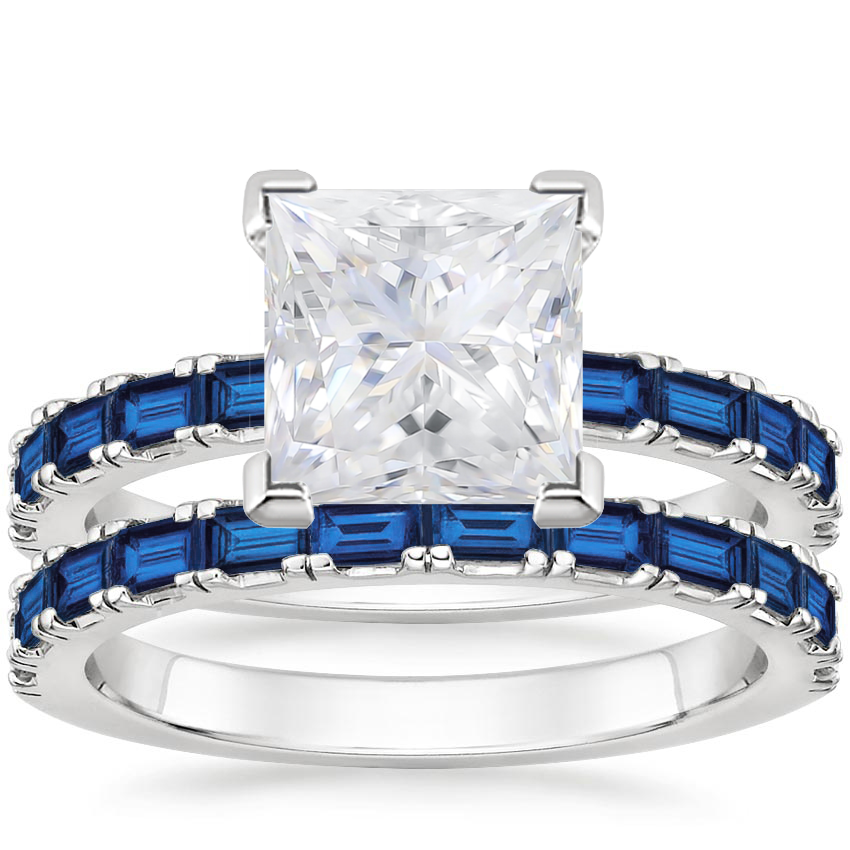 PT Moissanite Gemma Bridal Set with Sapphire Accents, top view