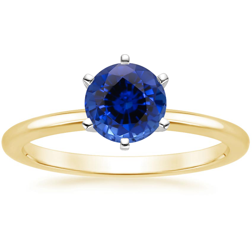Yellow Gold Sapphire Six-Prong Petite Comfort Fit Ring