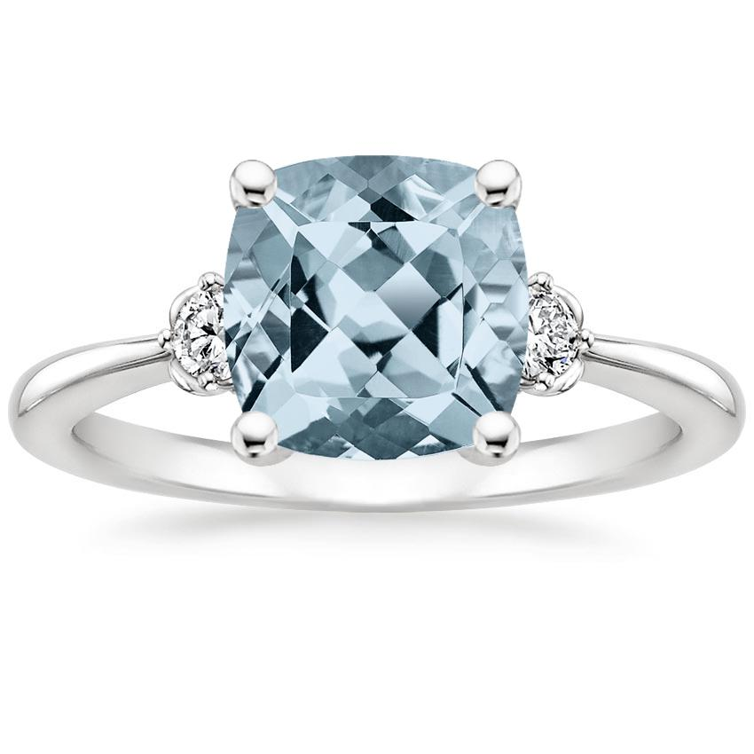 Aquamarine Blossom Diamond Ring (1/10 ct. tw.) in Platinum