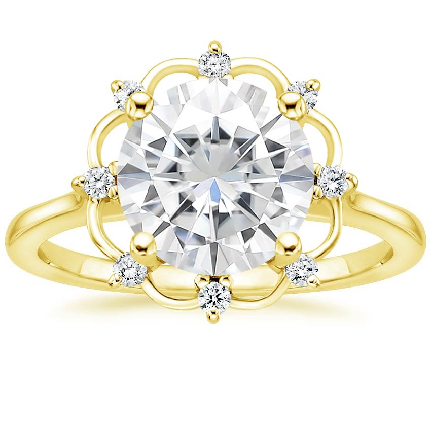Yellow Gold Moissanite Chantilly Diamond Ring