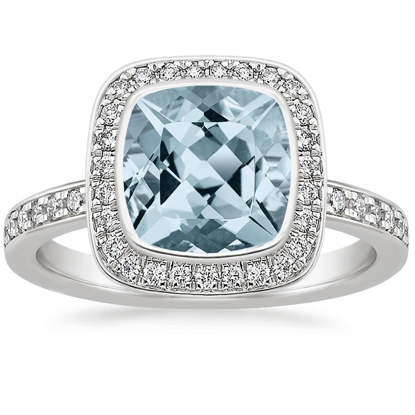 Aquamarine Malia Diamond Ring (1/4 ct. tw.) in 18K White Gold
