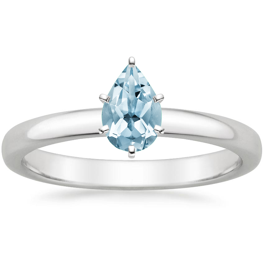 Aquamarine 2.5mm Comfort Fit Ring in 18K White Gold