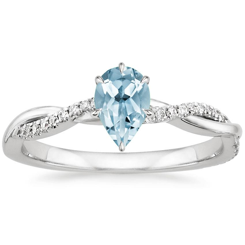 Aquamarine Petite Twisted Vine Diamond Ring in 18K White Gold