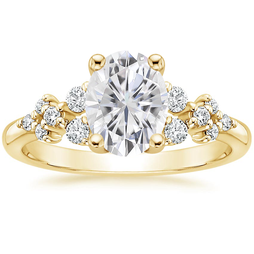 Yellow Gold Moissanite Effervescence Diamond Ring