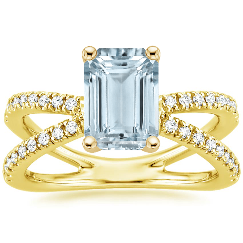 Yellow Gold Aquamarine Bisou Diamond Ring (1/3 ct. tw.)