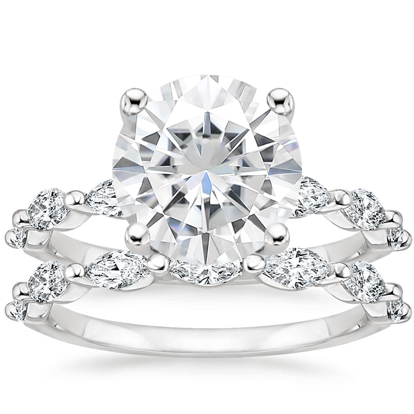 18KW Moissanite Joelle Diamond Bridal Set (3/4 ct. tw.), top view