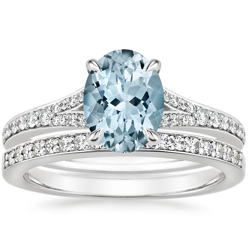 18KW Aquamarine Duet Diamond Bridal Set (1/3 ct. tw.), top view