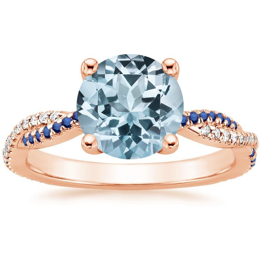 Rose Gold Aquamarine Petite Luxe Twisted Vine Sapphire and Diamond Ring (1/8 ct. tw.)