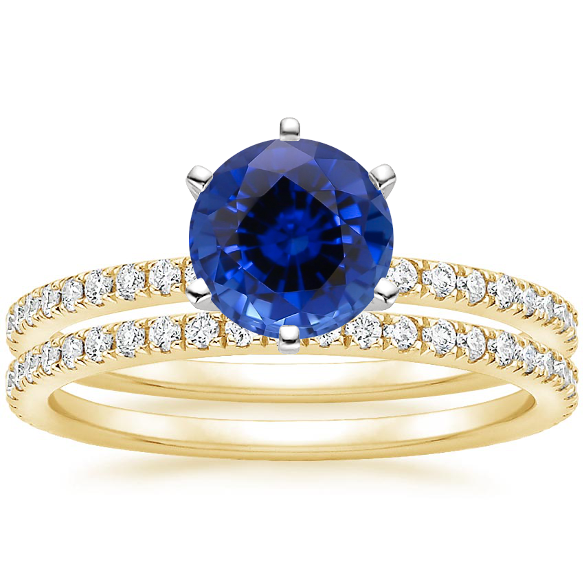 18KY Sapphire Lyric Diamond Ring with Luxe Ballad Diamond Ring (1/4 ct. tw.), top view