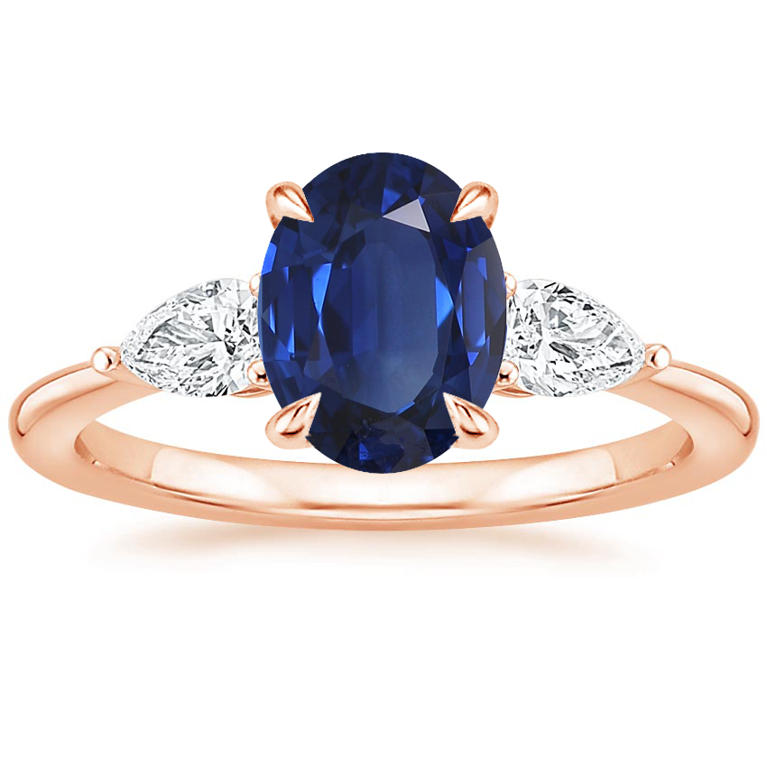 Rose Gold Sapphire Opera Diamond Ring