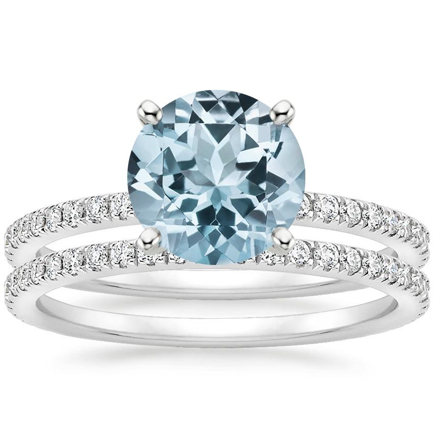 18KW Aquamarine Luxe Ballad Bridal Set (1/2 ct. tw.), top view