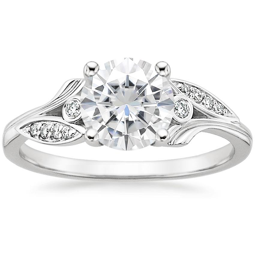 Moissanite Jasmine Diamond Ring in 18K White Gold