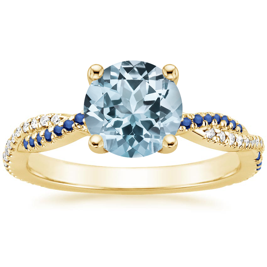 Yellow Gold Aquamarine Petite Luxe Twisted Vine Sapphire and Diamond Ring (1/8 ct. tw.)