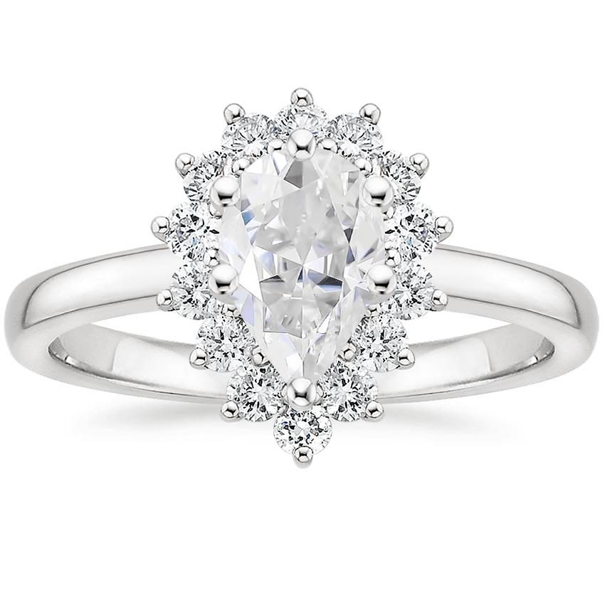 Moissanite Sunburst Diamond Ring (1/4 ct. tw.) in 18K White Gold