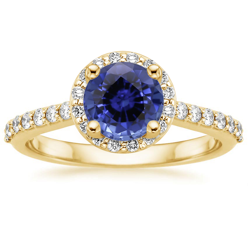 Yellow Gold Sapphire Halo Diamond Ring with Side Stones (1/3 ct. tw.)