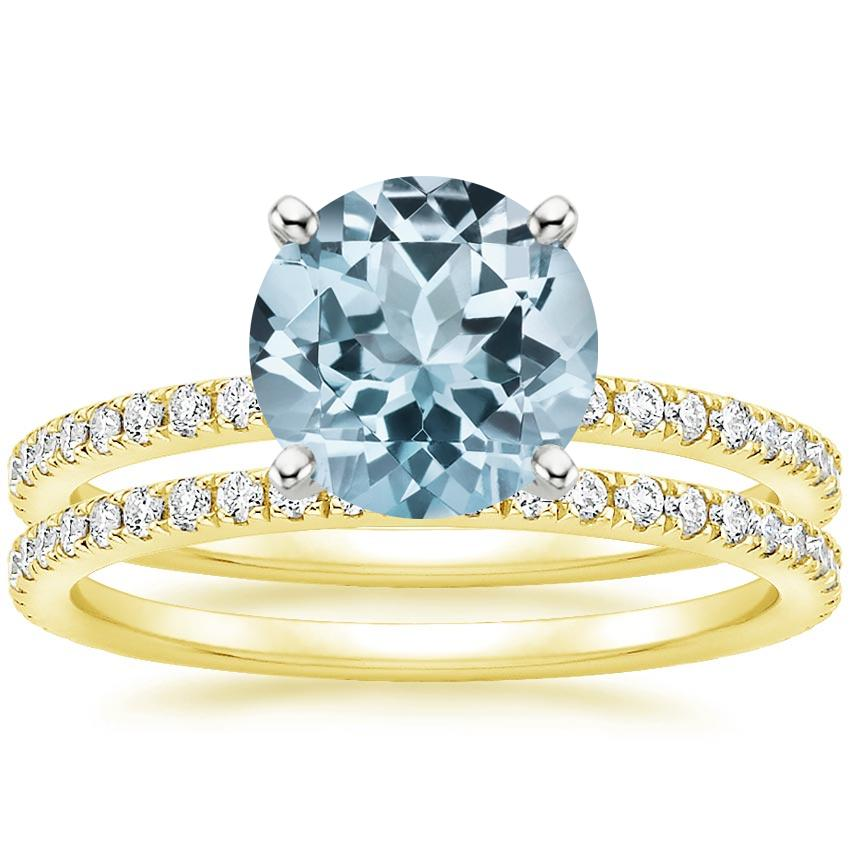 18KY Aquamarine Luxe Ballad Bridal Set (1/2 ct. tw.), top view