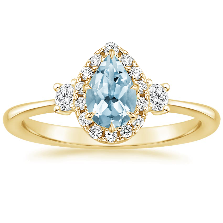 Yellow Gold Aquamarine Selene Halo Diamond Ring (1/4 ct. tw.)